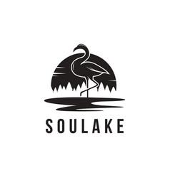 flamingo and lake landscape logo icon template vector image