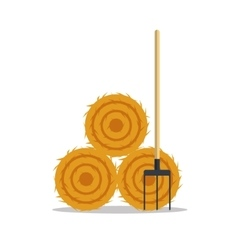 Flat dried haystack with hayfork isolated on whit vector image