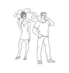 flat woman smoking man pinches nose vector image