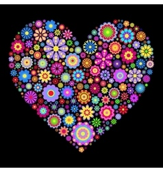 floral heart on black background vector image