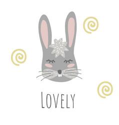 funny bunny retro stylelovely phrase vector image