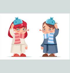 Girl and boy sick ill cold virus flu disease vector