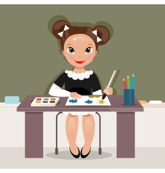 Girl on the drawing lesson vector