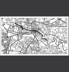 Glasgow scotland city map in retro style outline vector