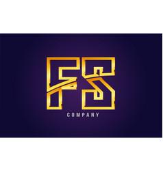 Gold golden alphabet letter fs f s logo vector
