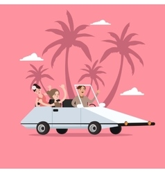 group of people ride car open for travel holiday vector image