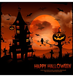 halloween night background with pumpkin and full vector image