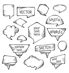 Hand-drawn pencil speech bubbles vector image