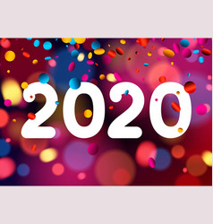 Happy new year 2020 card with colorful confetti vector
