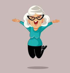 Happy senior woman jumping with excitement vector