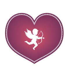 Heart with cupid vector