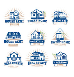 isolated blue color architectural houses icons vector image