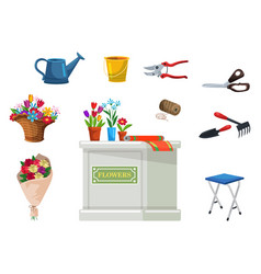 isolated florist equipment for flower shop set vector image