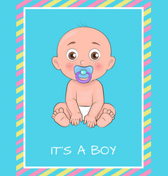 its boy poster dedicated to baby shower day vector image