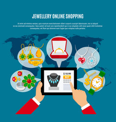 Jewelry online shopping composition vector