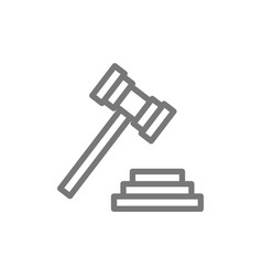 Judge or auction hammer court gavel line icon vector