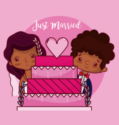 just married card cartoon vector image