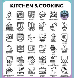 Kitchen and cooking icons vector
