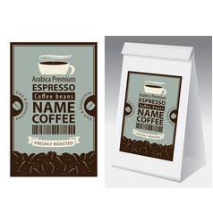 label and paper packaging for coffee beans vector image