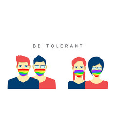 lesbian and gay couples in face mask lgbt pride vector image