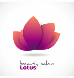 logo lotus leaves with shadow flower as symbol vector image