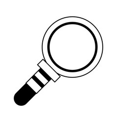 magnifying glass lab len cartoon in black and vector image