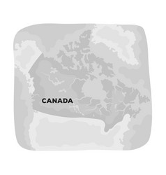 Map of canada canada single icon in monochrome vector
