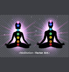 Meditating male and female silhouettes vector