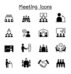 Meeting conference seminar planning icon set vector