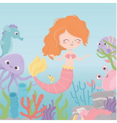 mermaid seahorse octopus crab coral cartoon under vector image
