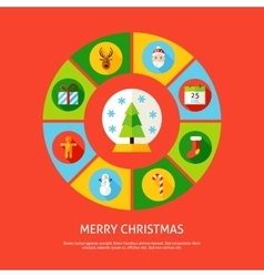 Merry Christmas Infographic Concept vector image