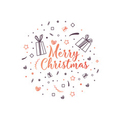 merry christmas lettering composition vector image