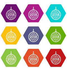 modern christmas ball icons set 9 vector image