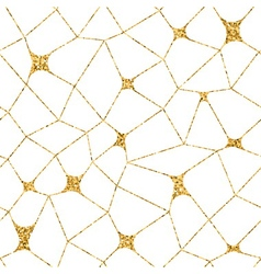 Mosaic geometric seamless pattern 3D gold white 2 vector image
