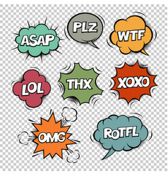 most common used internet acronyms on comics vector image vector image