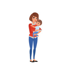 Mother holding her child on hands and embracing vector