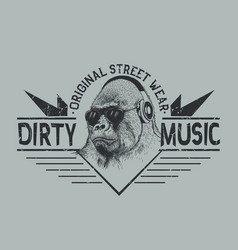 Music fan gorillastreet style label vector