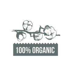 natural organic cotton pure cotton labels vector image