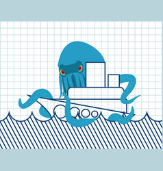 octopus and ship drawn vessel and monster scary vector image