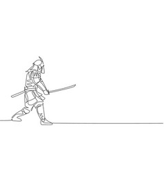 One single line drawing young japanese samurai vector