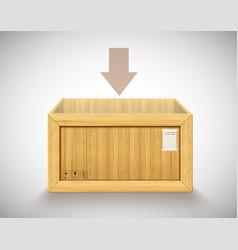 Open wooden rectangular container vector