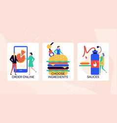 ordering food online colorful banner vector image