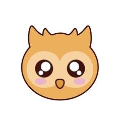 Owl kawaii cute animal icon vector