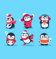 Penguins christmas penguin characters in winter vector