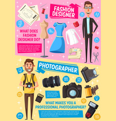 Photographer journalist tailor fashion designer vector