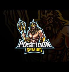 poseidon mascot sport logo design vector image