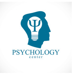 Psychology logo or icon with ancient greek psi vector