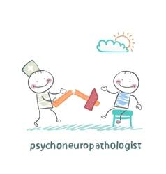 Psychoneuropathologist with a broken hammer after vector