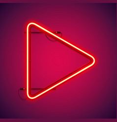 red neon play symbol vector image
