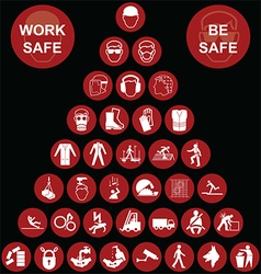 Red pyramid Health and Safety Icon collection vector image vector image